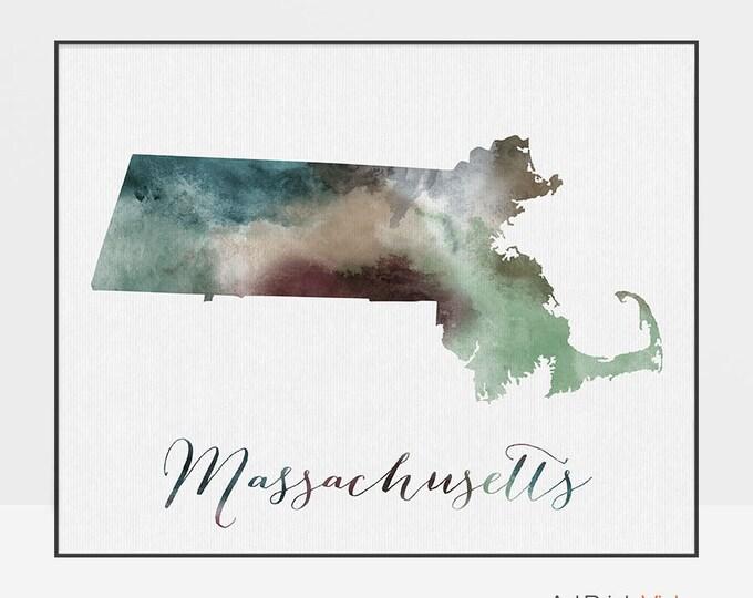 Massachusetts state map, watercolor map, Wall art, Massachusetts poster, Massachusetts, typography art, watercolor print, ArtPrintsVicky.