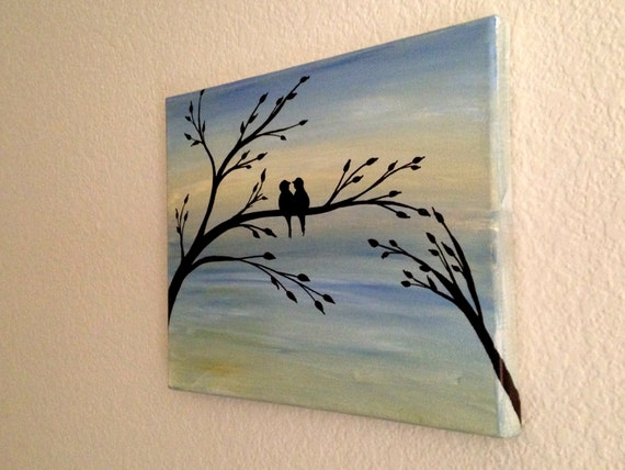Love birds acrylic painting canvas art bird lover christmas sale silhouette acrylic painting on canvas wall decor forever and always