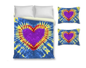 Heart Duvet Cover with Pillow Sham-Heart Tie Dye-Blue Purple Red Yellow-Tie Dye Bedding-Twin Queen King