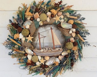 "Coastal Seashell Wreath w/ Sailboat ""Safe Harbor"" Nautical Wreath, Seashore Wreath, Beach Wreath, Front Door Wreath, Sailboat Wreath"