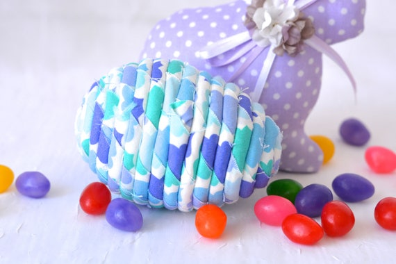 Aqua Easter Egg Ornament, Handmade Aqua Teal Easter Egg Decoration, Bowl Filler, Easter Egg Hunt, Hand Coiled Fiber Easter Egg