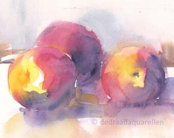 Peaches still life. Original watercolour.