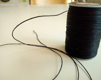 black waxed cotton cord thread, 0,6 mm