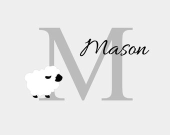 Sheep Wall Decal, Baby Nursery Wall Decor, Baby Boy Room, Little One, Personalized Wall Decal, Home Decor, Home and Living, Wall Sticker