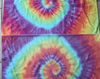 Tie Dye Pillowcase Set of Two | Standard Size Upcycled
