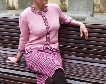 Costume crochet skirt and Cardigan, buy costume female, order, suit, skirt, jacket, woman point / / amazing Handmade, knitt, tricot