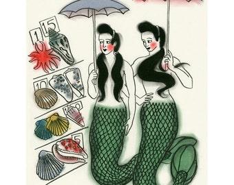 "Mermaid Art - Mermaid Print  - 4 for 3 SALE - Sunday Morning Markets  -   8.3"" X 11.7"" (A4) mermaids print"