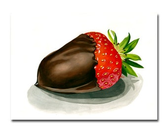STRAWBERRY 3 chocolate covered candy painting Sandrine Curtiss ORIGINAL art 9x12""