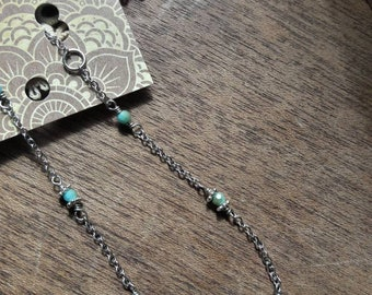 Anklet turquoise and silver chain