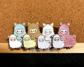 Happy Alpaca Mama & Baby Enamel Pin