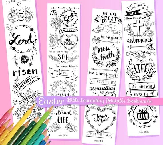 Pascua para colorear Biblia diario margen tiras / marcadores