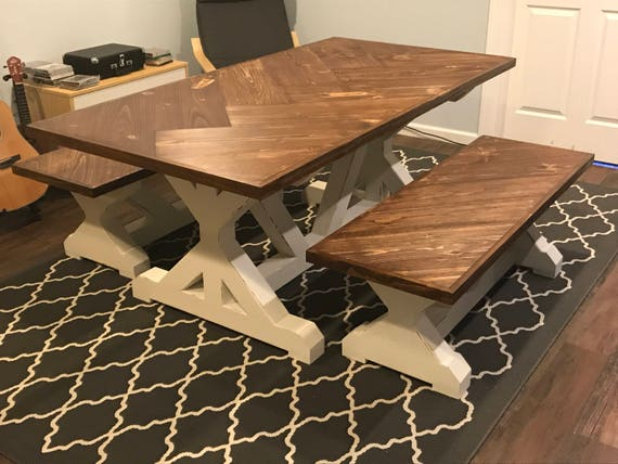 Herringbone Farmhouse Trestle Table Set