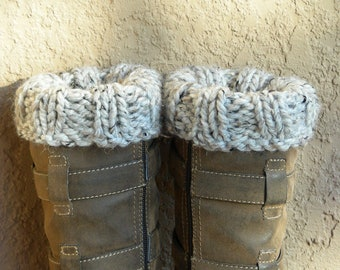 Boot Cuffs, Boot Toppers, Ankle Warmers light grey gray hand knit. Close the gap at the top of your boots.