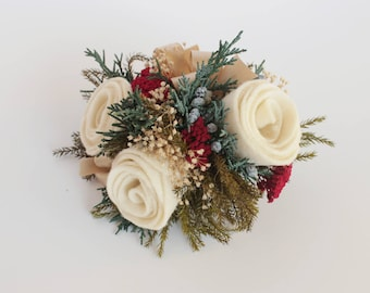 Christmas Wedding Corsage, Prom Flowers, Wrist Corsage, Pin On Corsage, Felt Flower, Off White, Cream, Traditional Christmas, Winter Holiday