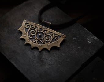 Riveted floral ornament brass pendant