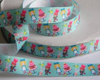 """Alice in Wonderland Ribbon Grosgrain 5 yards of 7/8"""" Blue Ribbon Hair Bow Birthday Party Favor Ties Alice Mad Hatter White Rabbit Tea Party"""