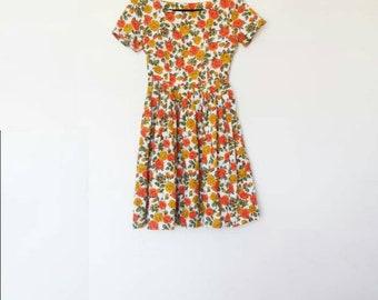 Floral Midi Dress Vintage Yellow and Orange Floral Pattern Dress Women's Vintage Midi-Dress Flower Print Dress Short Sleeve Skater Dress