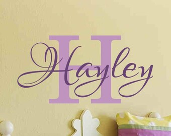 Girls Name Wall Decal Personalized Monogram Decal with Initial Nursery Wall Decor Bedroom Vinyl Lettering 6 sizes to choose from 50 colors