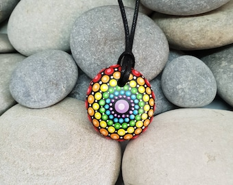 Chakra Mandala Necklace - Rainbow Mandala Stone - Paint Rock  - Meditation Rock - Rock Art - Dot Art - Hand-Painted Necklace - Pendant