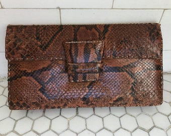 Vintage 1970s French Snakeskin Leather Clutch