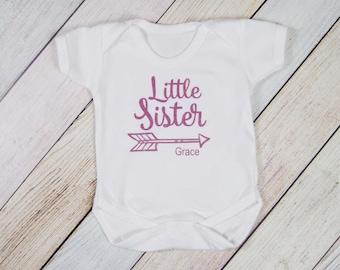 Personalized Little Sister Bodysuit - I'm the Little Sister - Youngest Sister Shirt - Sibling Shirt - Girls Shirt - Pregnancy Announcement