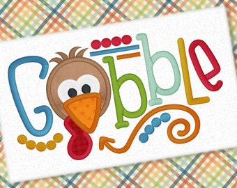 Gobble Applique Design Embroidery Saying Thanksgiving Design Turkey Embroidery Gobble Applique Embroidery Design Petunia Petals Designs 1333