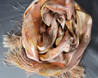 Silk Cut Velvet Scarf with Fringe, Hand-dyed, Plant-dyed with Red Earth and Golden Beets