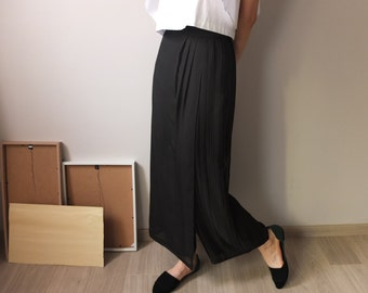 Shibuya Trousers -chiffon semi-pleated wrap trousers