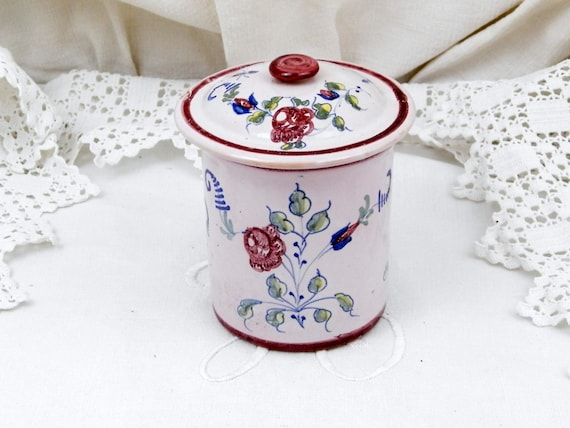 Small Antique French Faience Ceramic China Pale Pink Hand Painted Floral Pattern Pot / Canister / Jar and Lid, Country Farmhouse Pottery