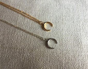 Boho jewelry, Double horn Crescent necklace, gold horn crescent, silver crescent necklace, layering necklace, minimalist jewelry