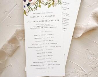 Floral Ceremony Program, Rustic Garden Wedding