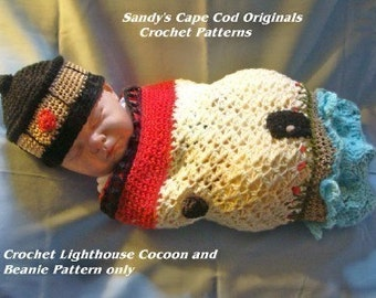 Lighthouse Crochet Pattern Newborn Cocoon and Beanie pdf 185 Great for Photo Props