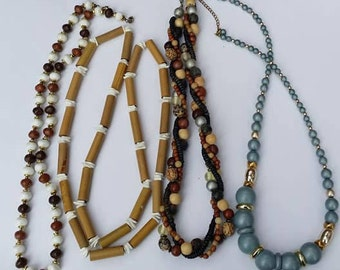 Vintage and modern lot of 4 wood beads necklaces