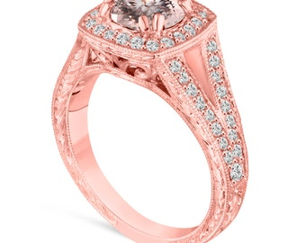 Morganite Engagement Ring Rose Gold, With Diamonds Wedding Ring, Vintage Antique Style Hand Engraved 1.46 Carat Unique handmade