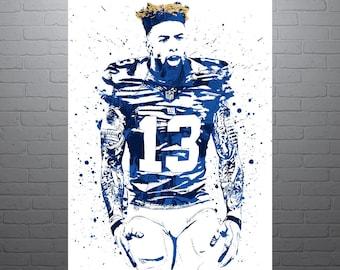 Odell Beckham Hair Jr New York Giants Sports Art Print, Football Poster, Kids Decor, Watercolor Abstract Drawing Print, Modern Art