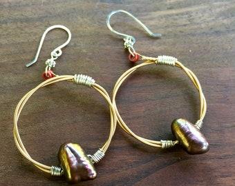 Guitar String Earrings, Hoop Earrings, Pearl Earrings, Recycled Guitar String Earrings, Pearl Earrings