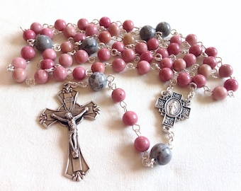Handmade Catholic Rosary beads, Gemstone rosary, Pink rosary, Christmas gift for her, Girl's rosary, First Communion gift, Confirmation gift