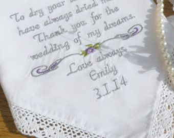 Mother of the Bride Embroidered Wedding Handkerchief Personalized Wedding Gift Handkerchief  Mother of the Bride future Mother In law