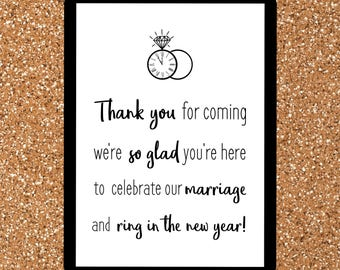New Years Eve Wedding Thank You Sign | NYE Wedding Sign | New Years Eve Wedding Decor