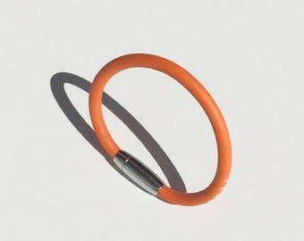 Orange Ring leather bracelet for woman