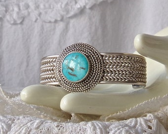 Sterling Turquoise Cuff Bracelet Braided Silver Vintage 1970s