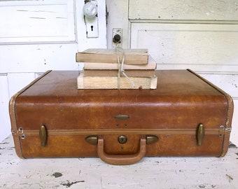 Vintage Samsonite Suitcase Luggage Brown Leather Photo Prop