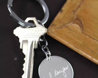 Custom Handwriting Keychain , Valentine's Gift for Him , Memorial Handwriting Jewelry, Handwriting Gift