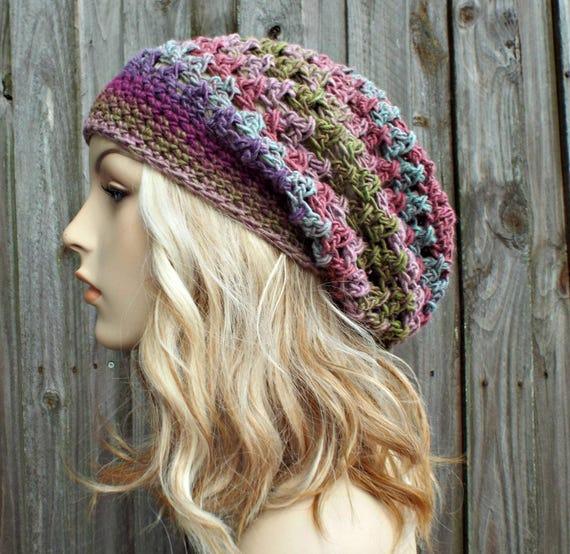 Crochet Hat Womens Hat - Criss Cross Slouchy Hat Green Pink Purple Crochet Beanie - READY TO SHIP