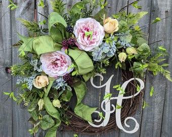 Door Wreath, Pink Blue Yellow Monogram Wreath, Spring Wreath, Spring Wreaths, Fern Wreath,