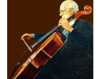 Violoncellist Rostropovich Musician Back-lighting Brown Cello Instrument, Original illustration Artist Print Wall Art, Free Shipping in USA.