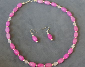 Fuschia and Rose Quartz Stone Necklace and Matching Earrings