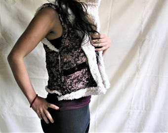 Women's waistcoat- Clothing-flowers-clothing-woman's jacket-vest hood-synthetic wool-cotton-winter-jacket-clothes-gipsy-woman