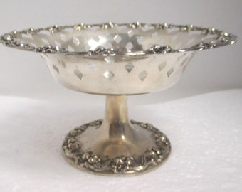 Vintage Stamped NS Co. Sterling Silver Ornate Pierced Footed Dish.