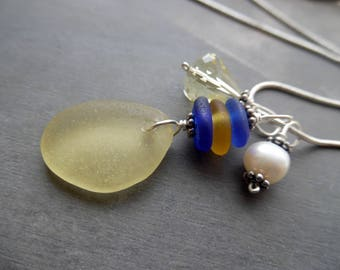 Yellow Sea Glass Necklace Blue Jewelry Sterling Beach Pendant